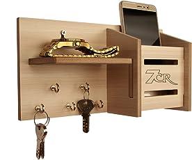 7CR Wooden Key Holder - (10.2 x 25.5 cm, Swiss Walnut)