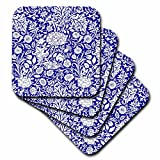 3drose William Morris Cherwell (Chintz Muster in Royal white-soft Untersetzer, Set 4 (CST _ 219031 _ 1), blau, set-of-4-soft
