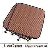 YYMMQQ Cubierta del Asiento de Carro Fundas de Asiento de Coche universales de 2 Piezas Protector de Asiento automático Antideslizante Transpirable Cojín de Silla de Oficina Cojín de sofá, marrón