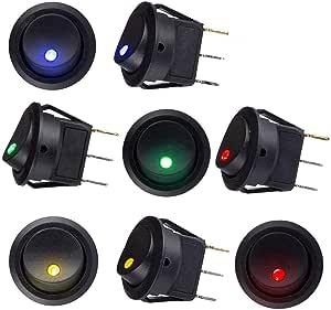 Sunerly 8 Pcs Dc 12v 20a Car Boot Truck Trailer Auto Kfz Beleuchtet Runde Schalter Wippschalter Button Toggle Ein Ausschalter Mit Roter Spst Switch Mit 4 Farbe Led Dot Light Auto