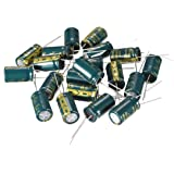 sourcing map Aluminum Radial Electrolytic Capacitor Low ESR Green with 1000UF 25V 105 Celsius Life 3000H 10 x 17 mm High Ripple Current,Low Impedance 20pcs