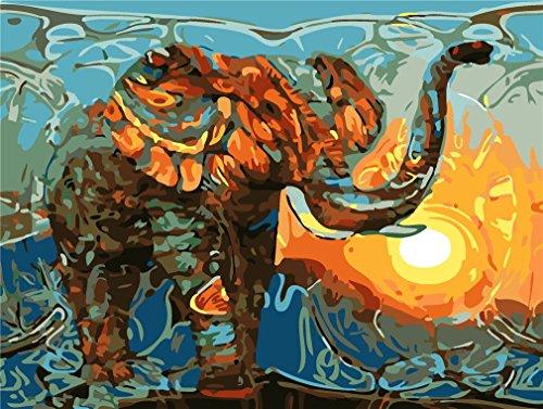 YEESAM ART Neuerscheinungen Malen nach Zahlen für Erwachsene Kinder - Gold Elefant Tier 16 * 20 Zoll Leinen Segeltuch - DIY ölgemälde ölfarben Weihnachten Geschenke (Elefant, Ohne Frame) -