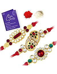 Sukkhi Glorious Gold Plated Kundan Rakhi Combo (Set of 3 Rakhi's) with Roli Chawal and Raksha Bandhan Greeting Card For Men