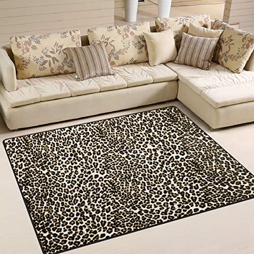 Use7 Alfombra Abstracta con Estampado de Leopardo para Sala de Estar o Dormitorio, Tela, 160cm x 122cm(5.3 x 4 Feet)