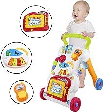 Baby Walker Multifunktionskinderwagen, Kindergarten Musik Lernen Trolley Spielzeug, importiertes ABS-Material, ungiftig und umweltfreundlich, für Baby-Alter 9 Monate +, 32 x 42 x 45cm