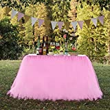 N&T NIETING Improved Handmade Pink Tutu Tulle Table Skirt Cover Mesh Fluffy Table