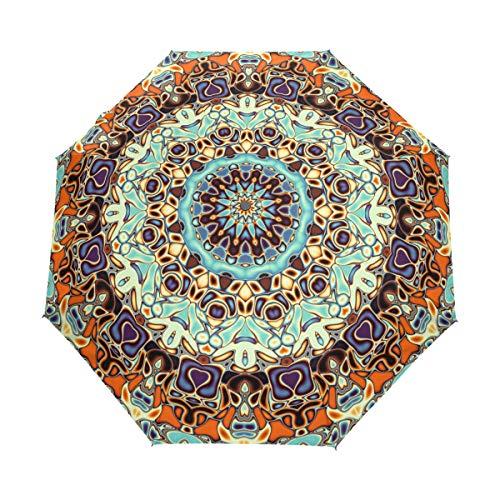 BIGJOKE Paraguas de 3 Pliegues con Cierre automático, diseño Floral de Mandala India, Resistente al Viento, Ligero, para Viajes, Lluvia, Compacto, para niños y niñas