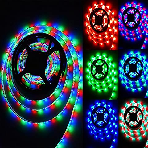 LED Streifen RGB 5M 300LEDs SMD 3528 IP65 wassergeschützt/wasserdicht 24 Buttons Remote Control 12v With 3A Power Supply Led Strip inklusive IR Fernbedienung Empfänger und Netzteil mit EU