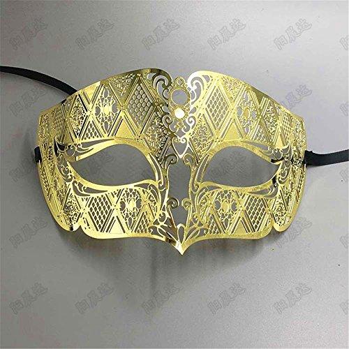 Männliche Maske Half Face Masquerade Maske Metall Party Diamond Show Venedig Weihnachtsrequisiten, (Männliche Maske)