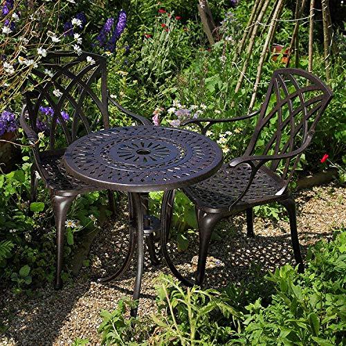 Lazy Susan - EVE 60 cm Bistrotisch mit 2 Stühlen - Rundes Gartenmöbel Set aus Metall, Antik Bronze (April Stühle, Blaue Kissen)