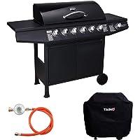 TAINO Basic 6+1 Gasgrill Set inkl. Abdeckung/Druckminderer Grillwagen BBQ Edelstahl-Brenner Seitenkocher Gas-Grill TÜV…