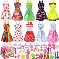 Total 66pcs - 10 Pack Doll Clothes Party Gown Outfits+ 55pcs Dolls Accessories Shoes Bags Necklace Mirror Hanger Tableware for Barbie Doll Girl Birthday Gift