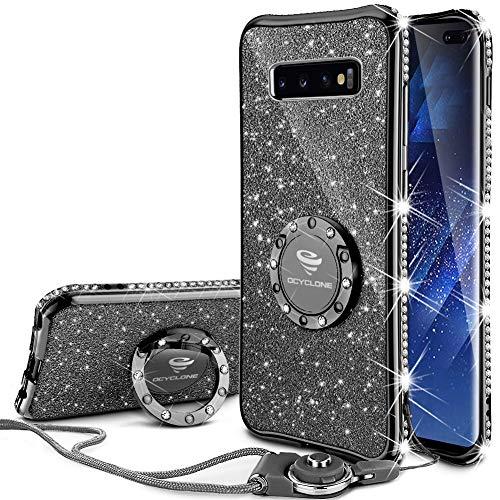 Plus Hülle, Glitzer Diamant Handyhülle mit Trageband und Handy Ring Ständer Schutzhülle für Galaxy S10 Plus Handy Hülle für Mädchen Frauen, [6.4 Zoll] Schwarz ()