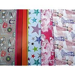10hojas de papel de regalo (mariposas, búho, estrella, rayas, guitarra, Radio)