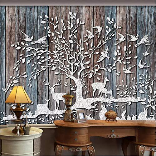 Zyzdsd Carta Da Parati Personalizzata 3D Carta Da Parati Foresta Cervo Retro Legno Grana Tavola Di Legno Soggiorno Tv Sfondo Foto Parete Murale Carta Da Parati-200X140CM