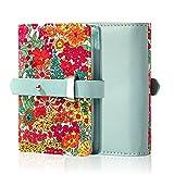 YAUGING petits couvertures de cartes de crédit et titulaire de carte, porte-carte de crédit pratique avec fleurs à la mode, porte-cartes de crédit en cuir avec 20 compartiments (vert)
