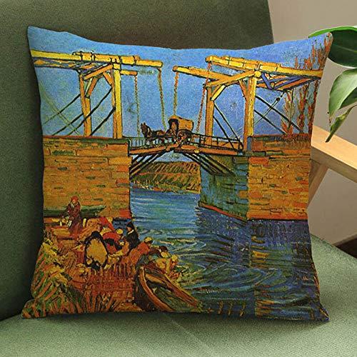Storerine Künstlerischer Stil Quadratisch Mehrfarben Ölgemälde Bettwäsche Kissenbezug werfen Taille Kissenbezug Sofa Home Decor