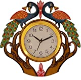 #5: JaipurCrafts Beautiful Wooden Peacock Emboss Painting Wall Clock (Multicolor) (14 IN x 13 IN)