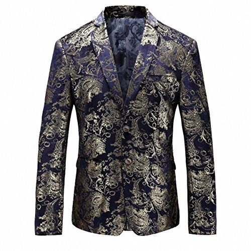 GOMY Slim Fit Herren Bunter Sakko Muster Casual Blazer Jacke Hochzeit Party (XL, Blau Golden) (Sport Herren Blazer Mantel)