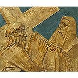 PB 6th Station of Cross Veronica Wipes Face of Jesus Peel & Stick Vinyl Wall Sticker 19.1 x 16inch