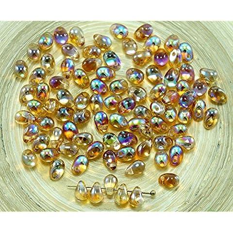 40pcs Cristallo Arcobaleno Marrone Vetro ceco Piccola Goccia Perline 4mm x 6mm
