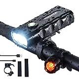 Fietslamp, Super Heldere 2400 Lumen Voorkoplamp, IPX5 Waterdicht, 3 LED fietsverlichting, 3 Modes Fietslampen, Voor alle race
