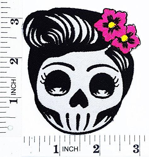 Flower Sugar Skull (grau) Tag der Toten Lady Rider Motorrad Patch Hand bestickt und Bügelbild Symbol Jacke T-Shirt patches aufnäher Zubehör (Flower Tote Patch)