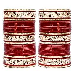 Lucky Jewellery Maroon Bridal Punjabi Choora, Wedding Chudas Size Of 2.2