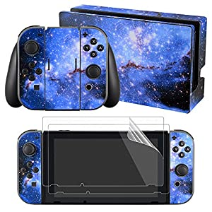 eXtremeRate Nintendo Switch Sticker Skin Folie Abziehbild Aufkleber Faceplates Decal Klebefolie+2 Displayschutzfolie für Nintendo Switch Console&Joy-Con&Dock&Grip(Sternenhimmel)