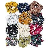 ZOEON 12 Pezzi Cravatte per Capelli Chiffon per Donna, Fiore Elastico Scrunchies