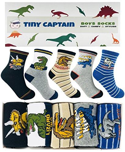 Socken für Jungen Dinosaurier, super Geschenk für Junge im Alter von 4-8 Jahre, 5 Paar Von Tiny Captain