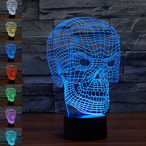 3d Illusion Lamp jawell Night Light Skull 7Changing Colors Touch USB Table...
