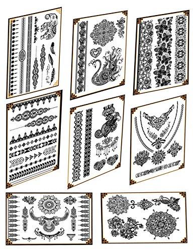 8 Feuilles Bracelet Collier Temporaire Tatouage Fille Transfert Autocollants Tatouage Body Art Autocollants pour Voiture Mariage Party Rencontres Shopping (Type 1)