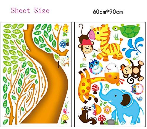 ufengke cartoon gl cklich tier baum mit eule affen zebra giraffe wandsticker babyzimmer. Black Bedroom Furniture Sets. Home Design Ideas