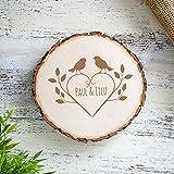 Baumscheibe mit Gravur zur Hochzeit Motiv Vögel