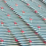 Stoff Baumwolle Jersey Meterware gestreift petrol Flamingo