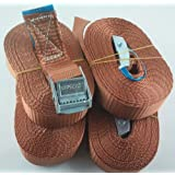 4STK spanngurte amarre correas tensoras con cierre rápido de apriete (5metros Calidad según EN12195–2Color Marrón cargas de correa, Sujección Iapyx®