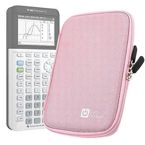 Coque de rangement rose rigide pour Texas Instruments TI-83 Premium, TI 82 Advanced et TI-NSPIRE CX calculatrices scientifiques - résistant à l'eau - DURAGADGET - Calculatrice non fournie
