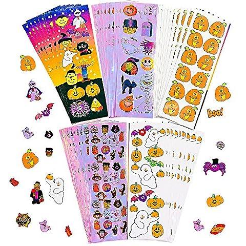 German Trendseller® - 200 x Halloween Sticker kit┃ pochette cadeau ┃ citrouille , fantôme , sorcière , chauve-souris┃12 x feullies d'autocollants