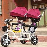 QXMEI 3 Räder Baby Artefakt Kindertrolleys Leichte Baby Zwillinge Zebra Regenschirm Auto,RoseRed