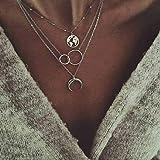 Jovono Collares Multicapa Mapa y Doble Círculo Media Luna Colgante Collar Cadena Joyas para Mujeres y Niñas (Plata)