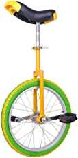 "Adjustable 18"" in 18"" Mountain Bike Wheel Frame Unicycle Cycling Bike Lemon with Comfortable Release Saddle Seat"