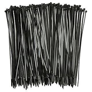 H&S 150pcs Cable Ties Black 250mm Self Locking Zip Ties Plastic Nylon - Black