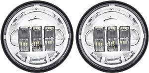 2 StÜcke Motorrad 4 5 Zoll Led Hilfslicht Nebelscheinwerfer Visier Stil Lampe Für Harley Davidson Chromlicht Auto