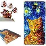 Coque Samsung Galaxy A5 2016, LovelyC (peinture chat) PC Plastique Housse Etui hard Case Cover pour Samsung Galaxy A5 2016 (5.2 inches) +1x Bouchons de poussière