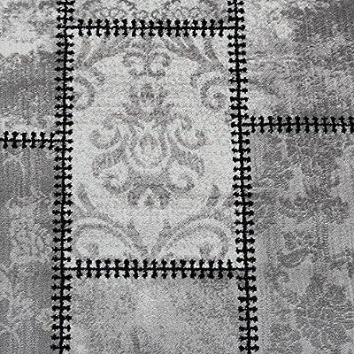 Designer Rug Modern Ornamental With Rectangles Abstract Mottled In Grey Black - low-cost UK light shop.