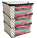 #4: Kuber Industries™ Polka Dots Saree Cover/Regular Cloth Bag/Wardrobe Organiser Set of 3 Pcs (Ivory)