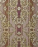 Barock-Tapete EDEM 580-34 Hochwertige geprägte Tapete in Textiloptik und Metallic Effekt rot-braun perl-gold silber 5,33 m2