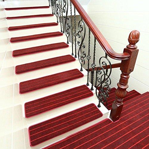 SZT Matten-Stair Teppich frei von Kleber Massivholz Footpad Wohnzimmer Schlafzimmer Antiilip Kissen europäischen Stil,B,75X24Cm (30X9Inch) - 8 Fuß Massivholz