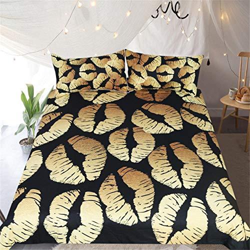 ZMK-720 Schwarz Stilvolle Bettwäsche Set Chic Goldrn Glitter Lippen Muster Bettbezug Mit Kissenbezügen 3 Stücke Trendy Tröster @ 210 * 210 cm -